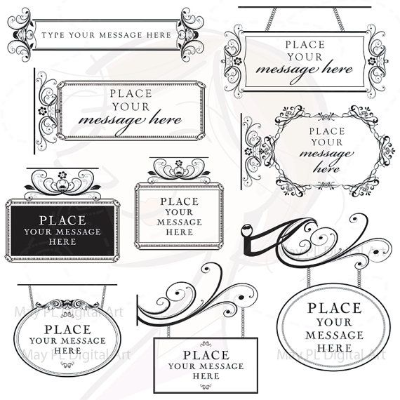 Vintage Digital Frame Signage Clip Art Sign Clipart Calligraphy Flour