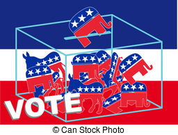 Vote Republican Over A Blue White And Red Background