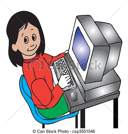 Young Girl Working On The Computer Csp3551546   Search Clipart