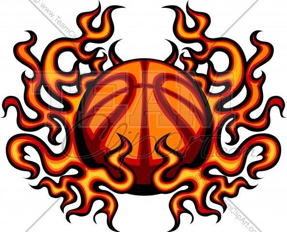 Basketball With Flames Vector Clipart Image   Team Clipart  Com