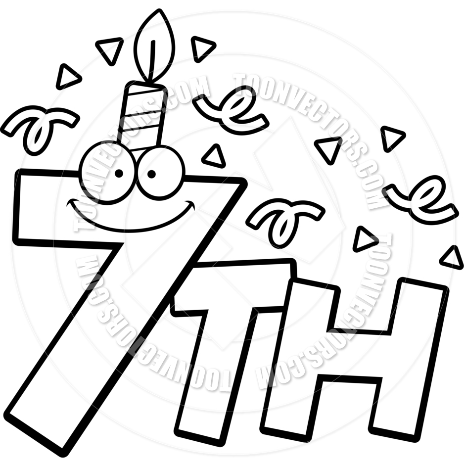 Cartoon 7th Birthday  Black And White Line Art  By Cory Thoman   Toon