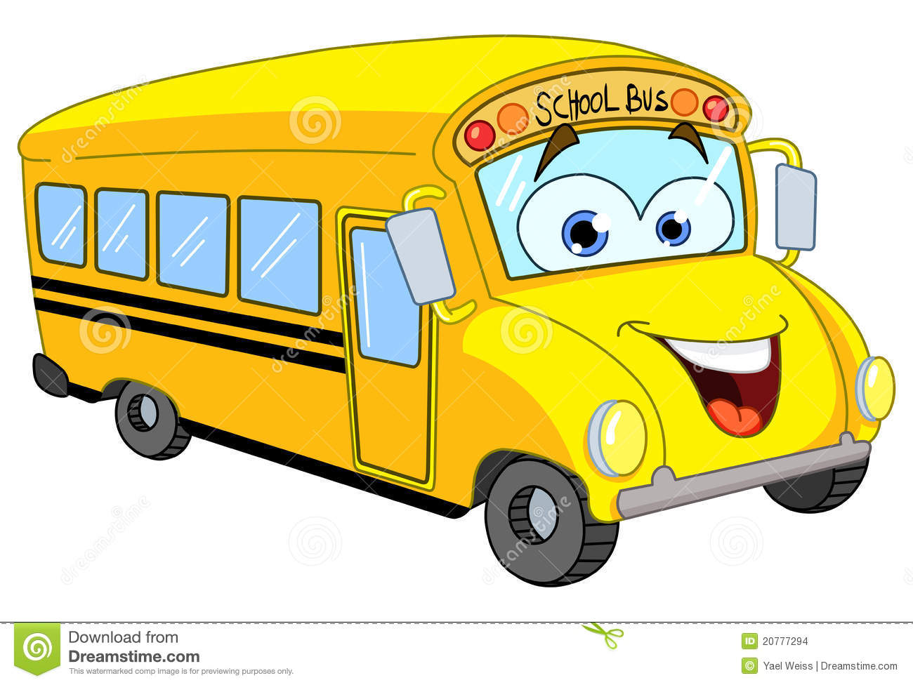 Cartoon Of A Smiling School Bus