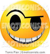 Clip Art Of A Yellow Emoticon Face With An Evil Michievious Grin Up