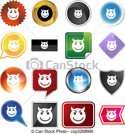Clip Art Vector Of Evil Grin Emoticon   Evil Grin Emoticon Isolated On