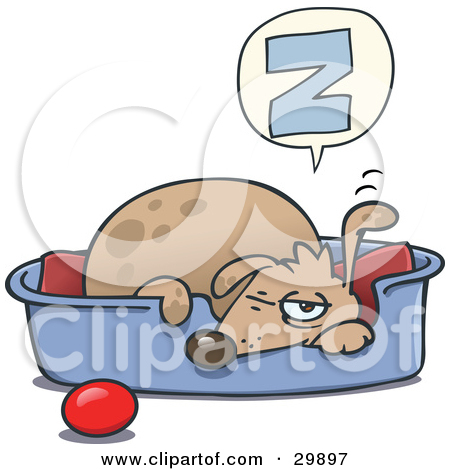 Clipart Illustration Of A Sleepy Dog Napping In A Dog Bed A Ball At