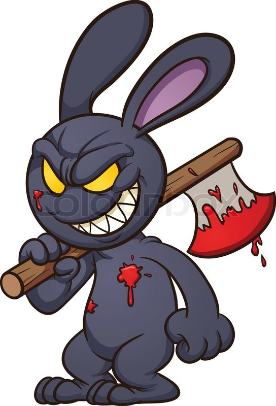 Evil Cartoon Black Bunny  Vector Clip Art Illustration With Simple