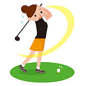 Female Golfers Clip Art Woman To Play The Golf