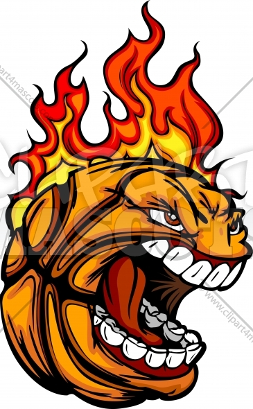 Flaming Basketball Ball Face Cartoon Vector Sports Clipart