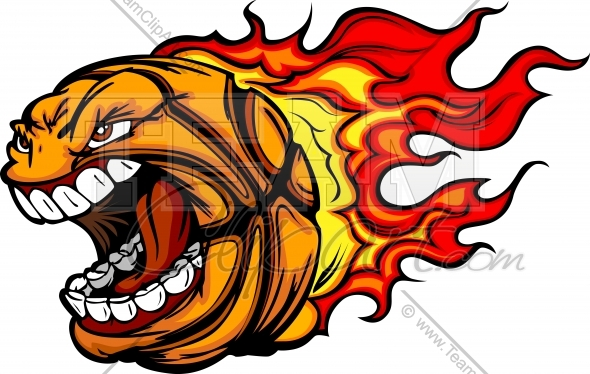 Flaming Basketball Clipart Image  Easy To Edit Vector Format