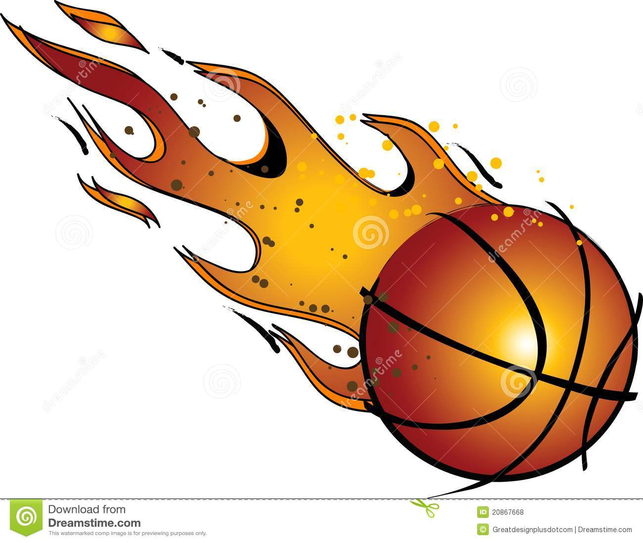 Flaming Basketball   Vector   Clip Art Royalty Free Stock Photos
