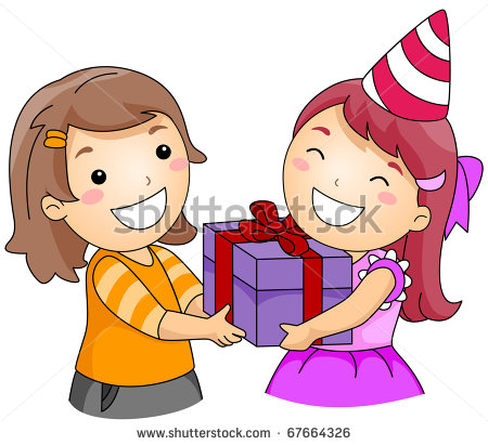 Illustration Of A Girl Giving A Gift To Another Girl   Stock Vector