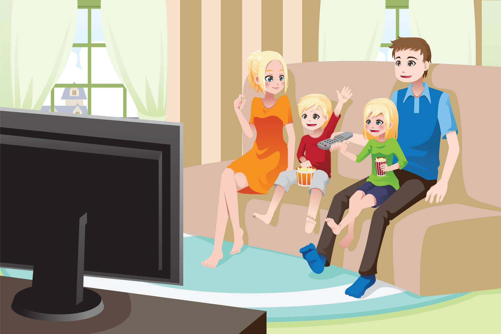 Pics for family watching tv cartoon for People watching