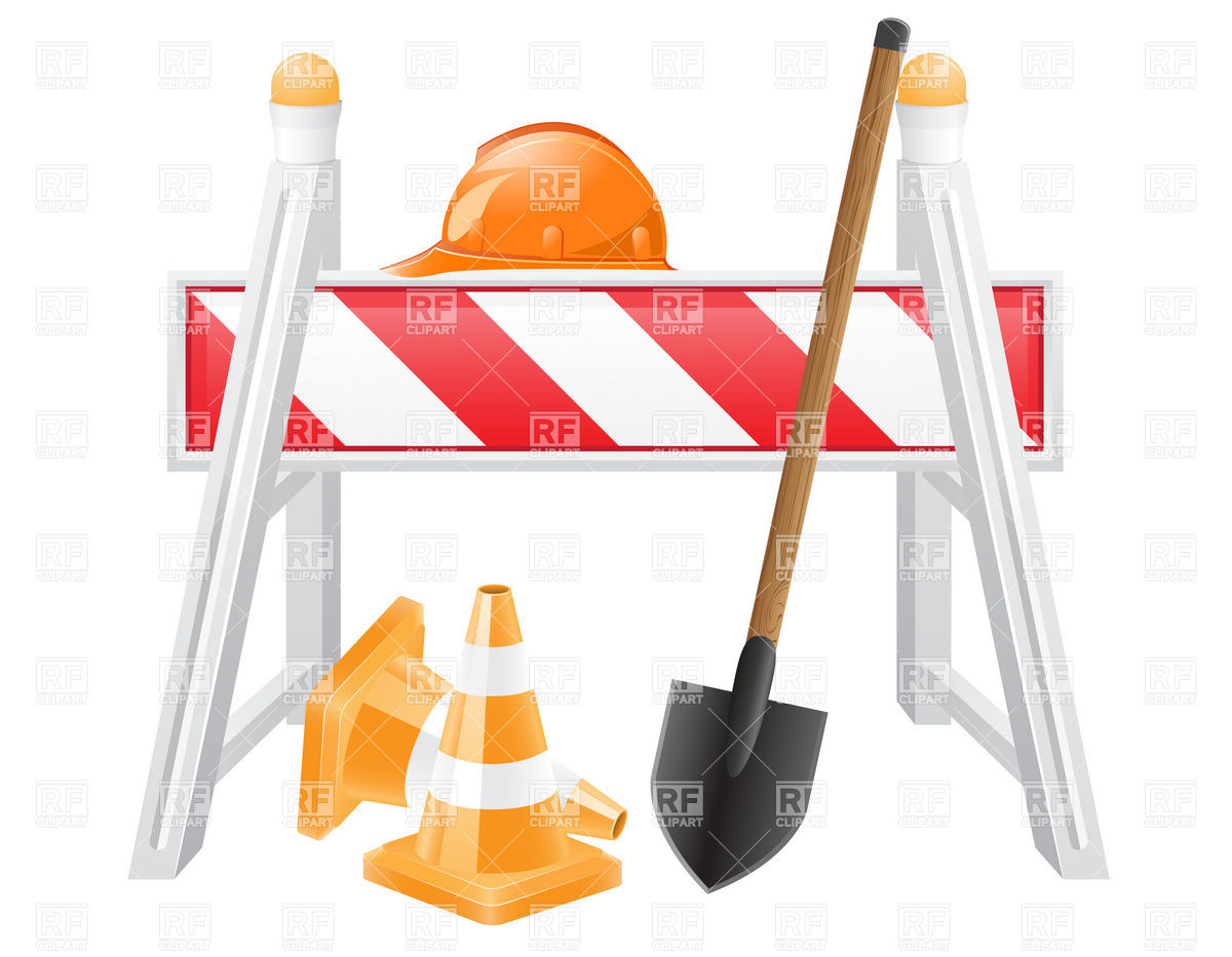 Roadway Maintenance Symbols   Barrier Traffic Cone Hard Hat And