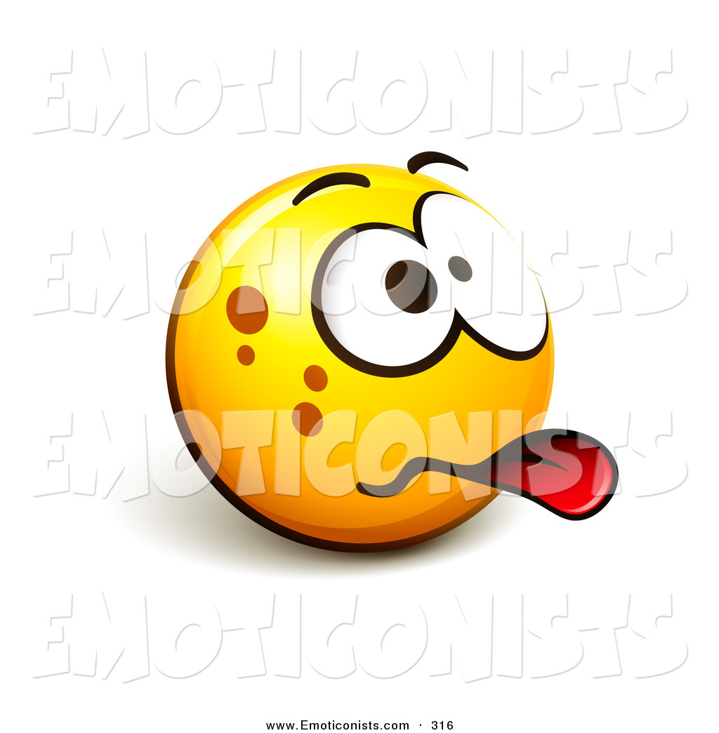 Smiley Face Emoticon Sticking Its Tongue Out Acting Sick Or Disgusted