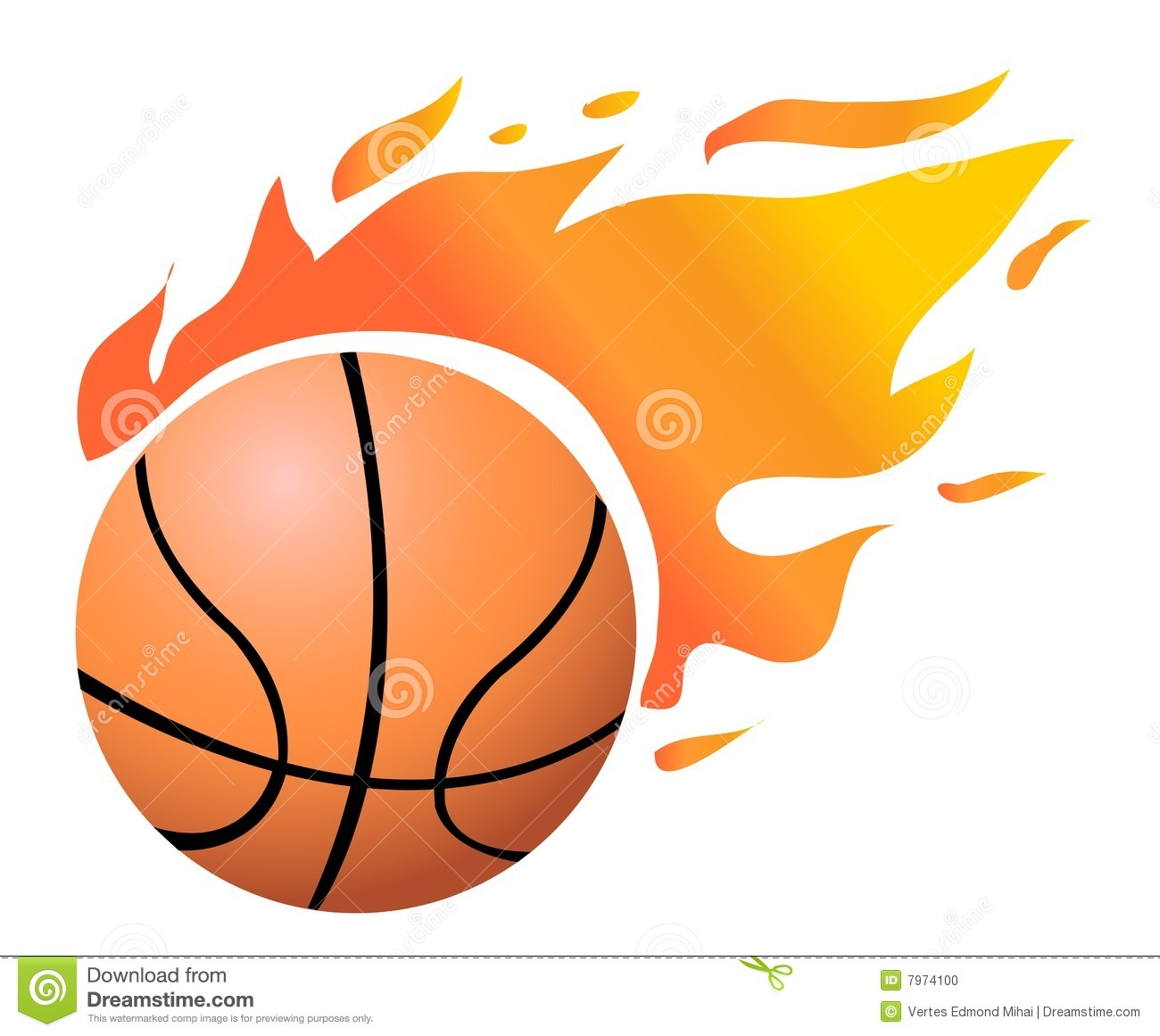 Vector Flaming Basketball Stock Photo   Image  7974100