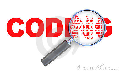 3d Illustration Of Coding Sign With Magnify Glass