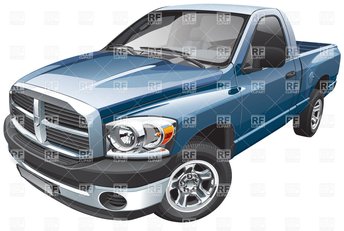 Blue Full Size Pickup Truck Download Royalty Free Vector Clipart  Eps