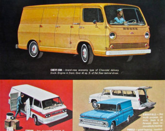 Chevy Pi Ck Up Van Station Wagon Print Advertisement Yellow Auto Blue