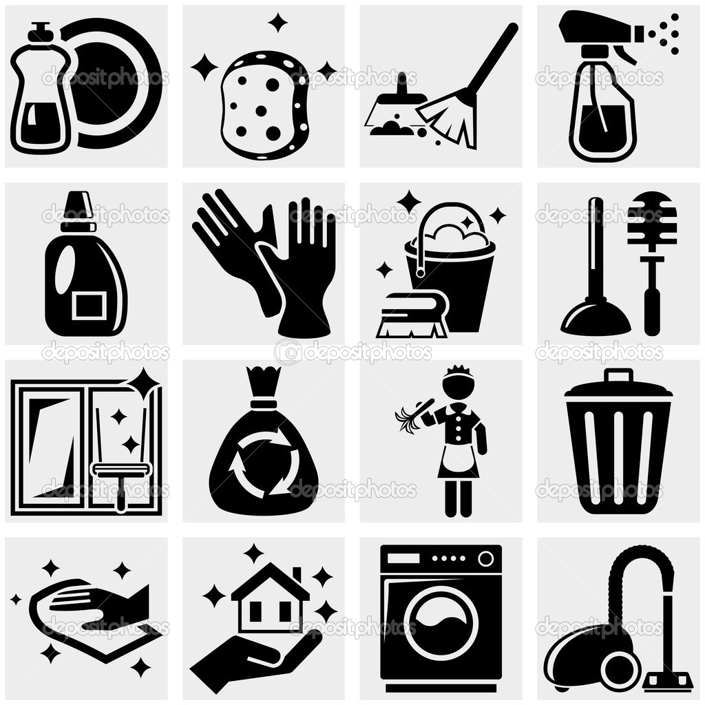 Cleaning Vector Icons Set On Gray    Stock Vector   Alexynder