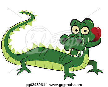 Clip Art Vector   A Funny Goofy Looking Cartoon Alligator With Tongue