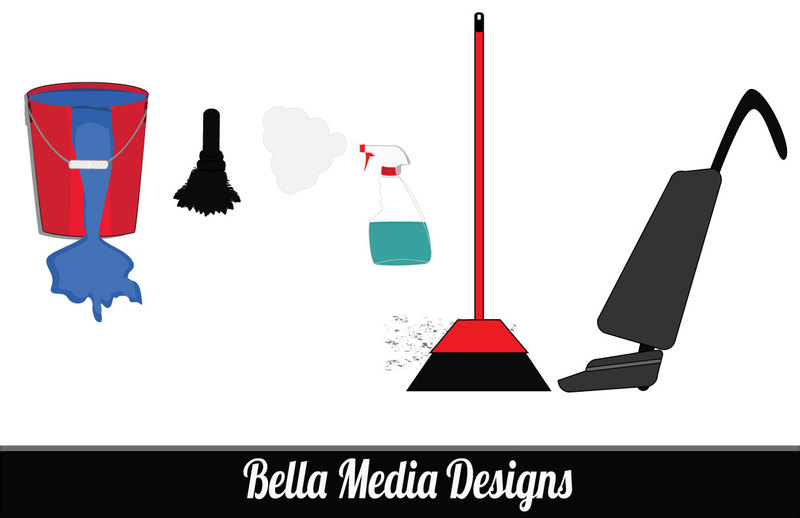 Clipart Cleaning Supplies Black And White A Cartoon Clipart   Free
