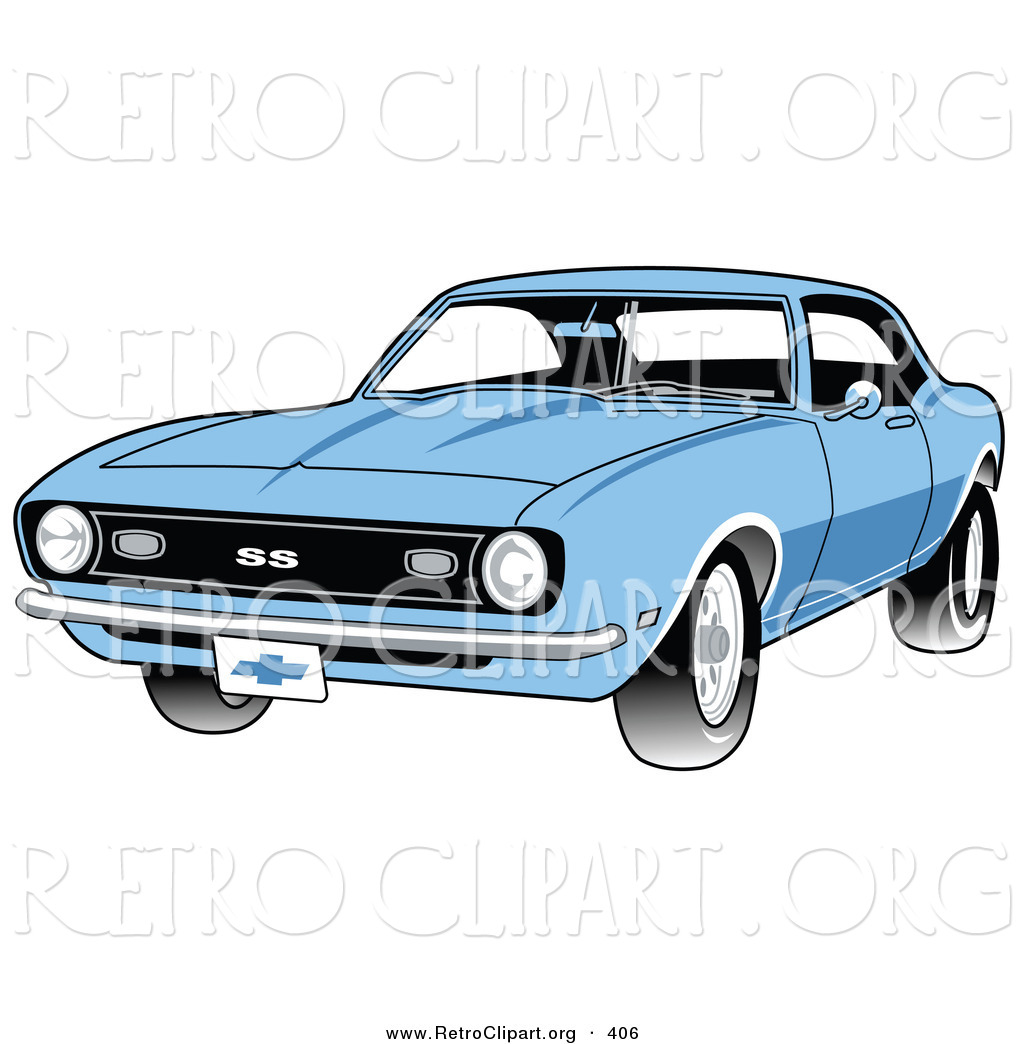Larger Preview  Retro Clipart Of A Light Blue 1968 Chevrolet Ss Camaro