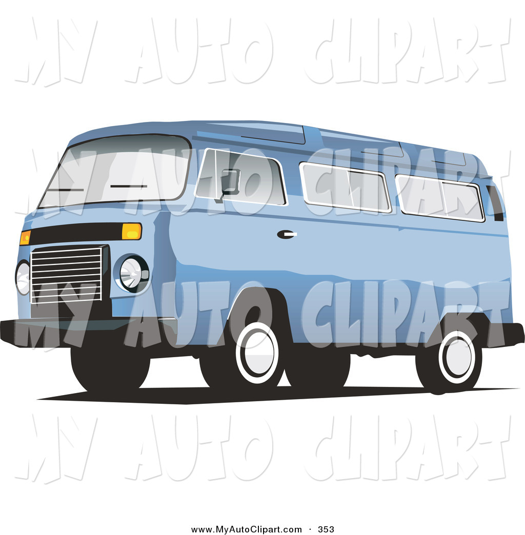 Preview  Clip Art Of A Sky Blue Combo Van Driving Left By David Rey