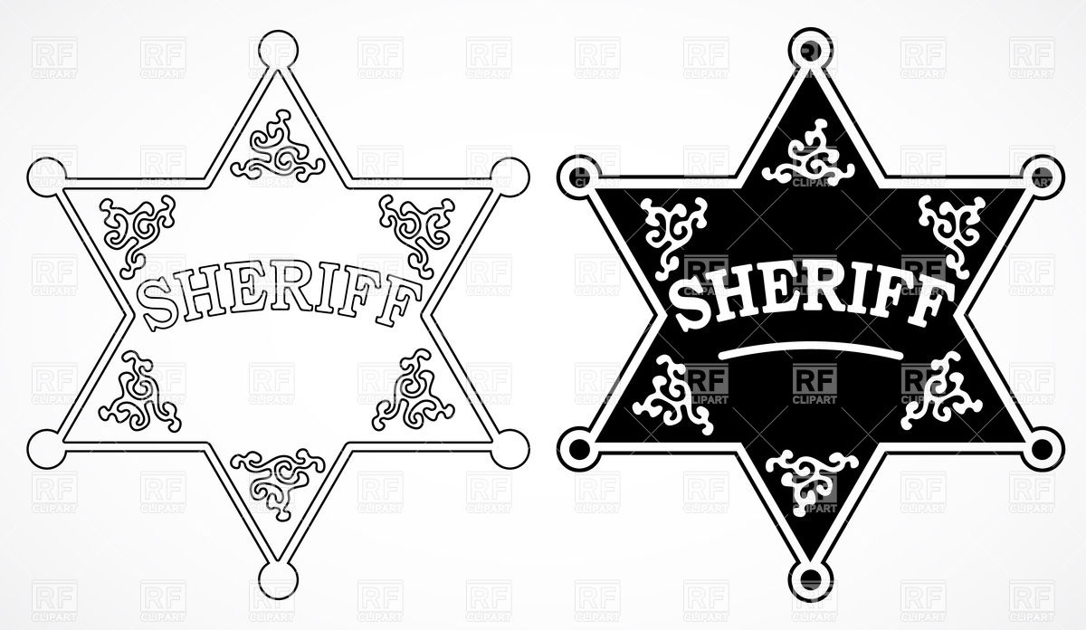 Sheriff Stars With Decorations Black And White 28288 Download
