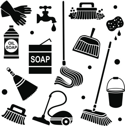 Showing Gallery For Cleaning Supplies Clipart Black And White