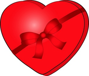 Valentine Clipart Image   Heart Shaped Box Of Valentine Candy With