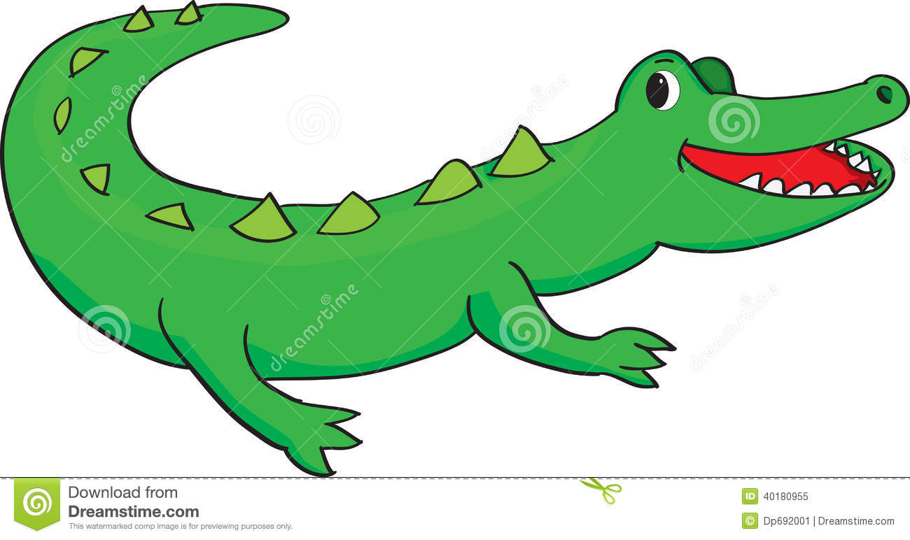 Vector Illustration Of A Happy Green Alligator Smiling