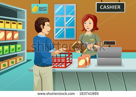 Vector Illustration Of Cashier Working In The Grocery Store Serving