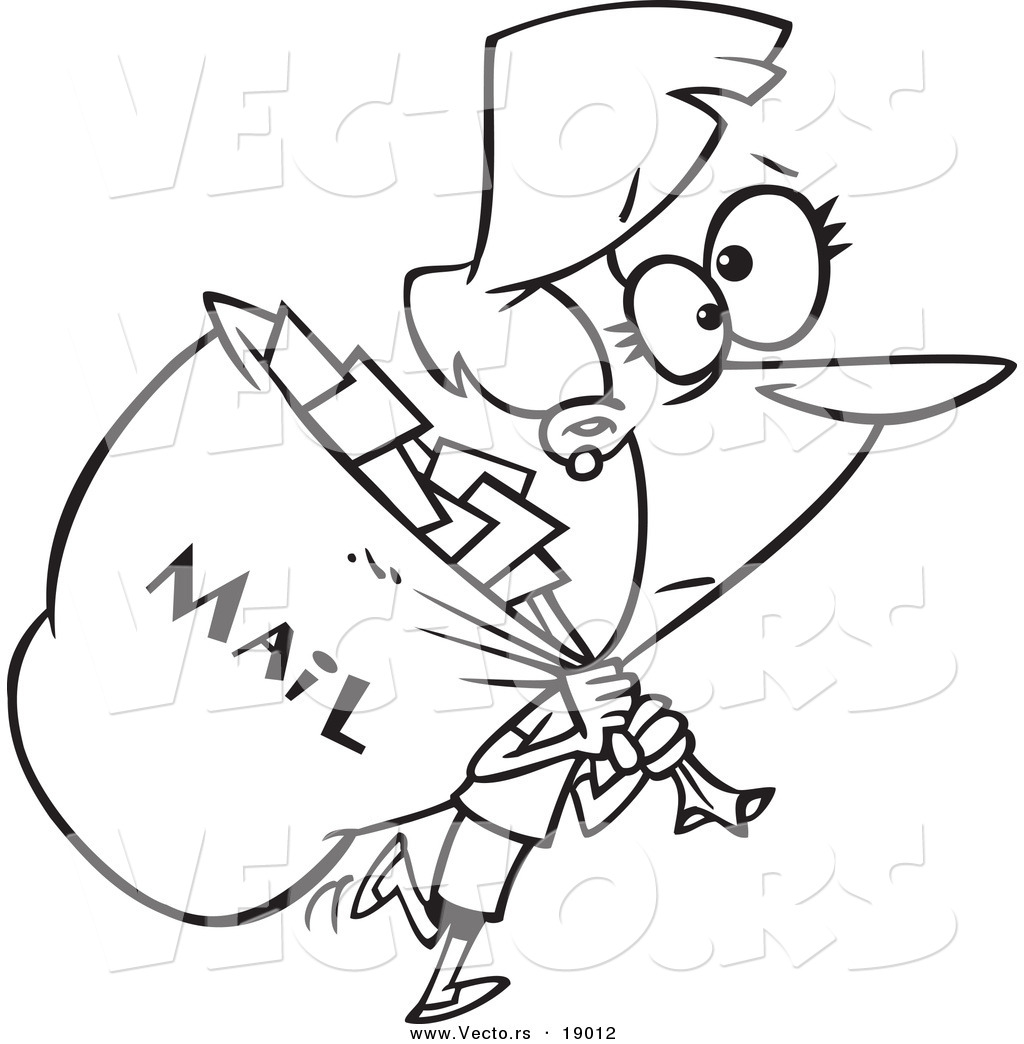 Vector Of A Cartoon Mail Woman Carrying A Big Bag   Outlined Coloring