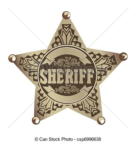 Vector Of Sheriff Star   Brown Vector Sheriff Star On White Background