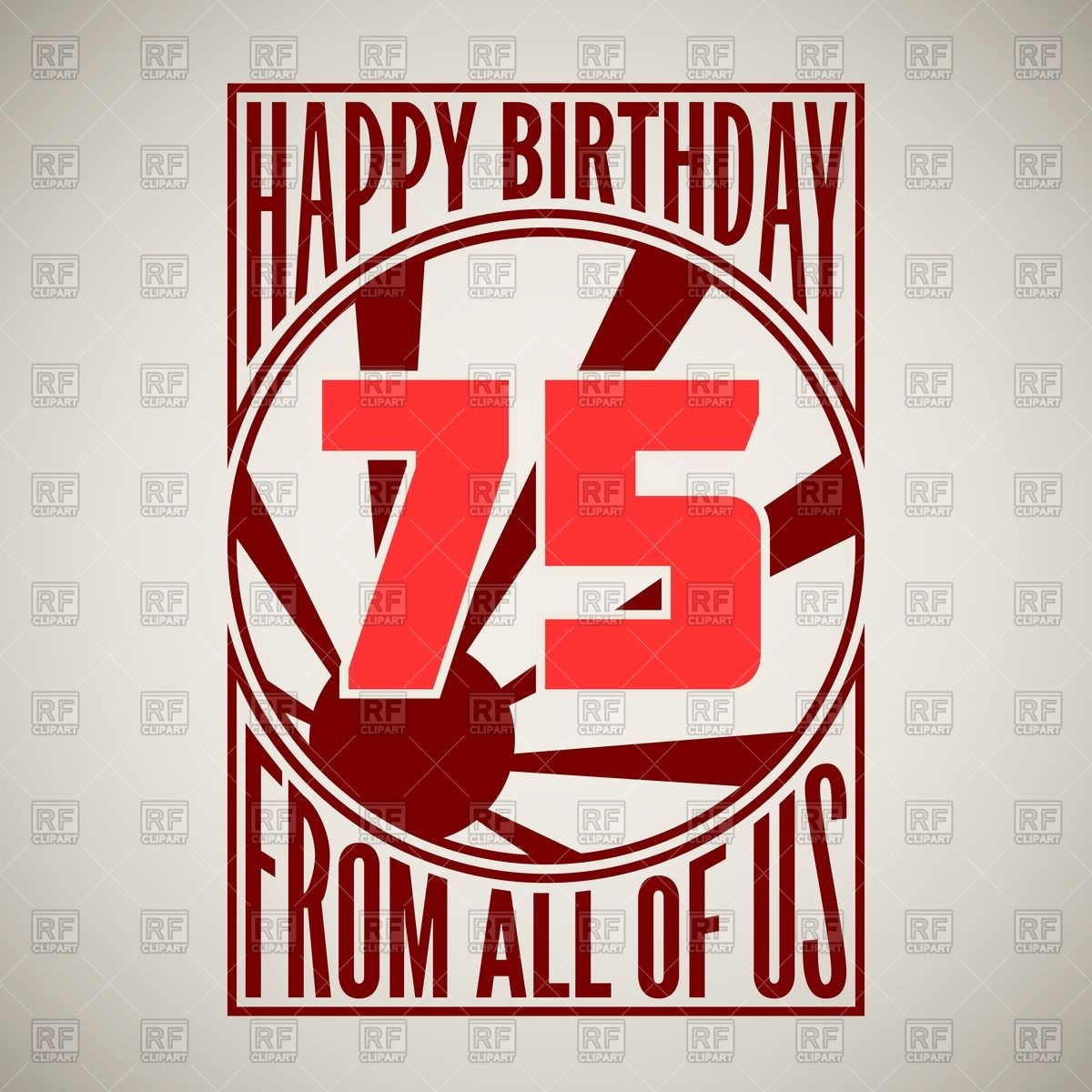 75th Anniversary   Retro Style Birthday Poster Hanging On The Wall