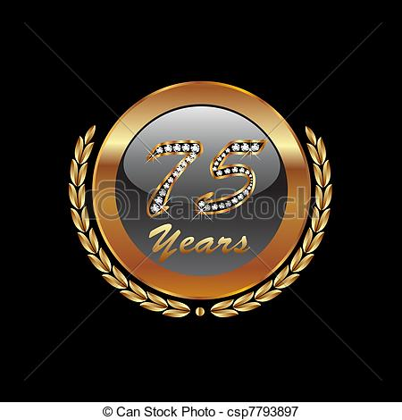 75th Anniversary With Diamonds Bling Csp7793897   Search Clipart