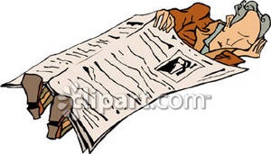 An Old Man Sleeping Under A Newspaper   Royalty Free Clipart Picture