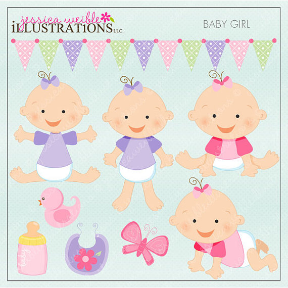 Baby Girl Cute Digital Clipart For Card Design Scrapbooking And Web