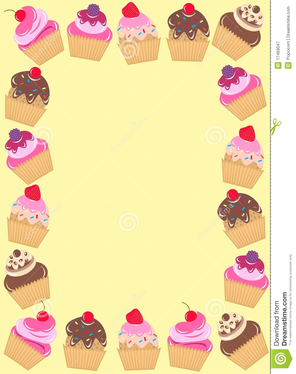 Cupcakes Clipart Border A Frame Of Cupcakes On Yellow