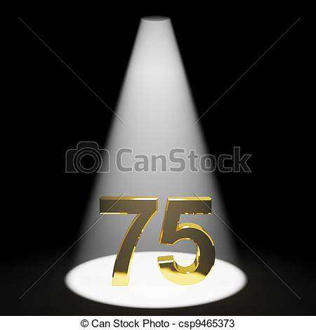 Gold 75th Or Seventy Five 3d Number Representing Anniversary Or