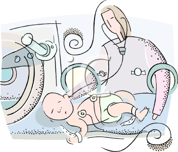 Newborn Baby In An Incubator   Royalty Free Clipart Image