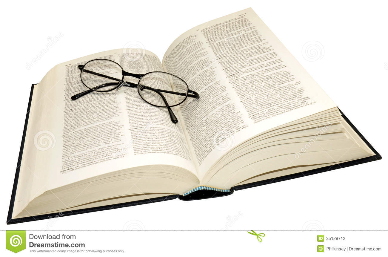 Open Dictionary And Reading Glasses Stock Photography   Image