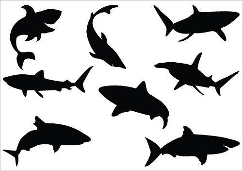 Shark Silhouette Clip Art Pack
