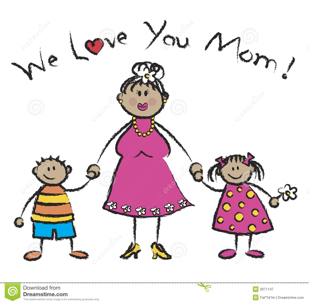 We Love You Mom   Cartoon Illustration Of Family With Tan Skin Tone