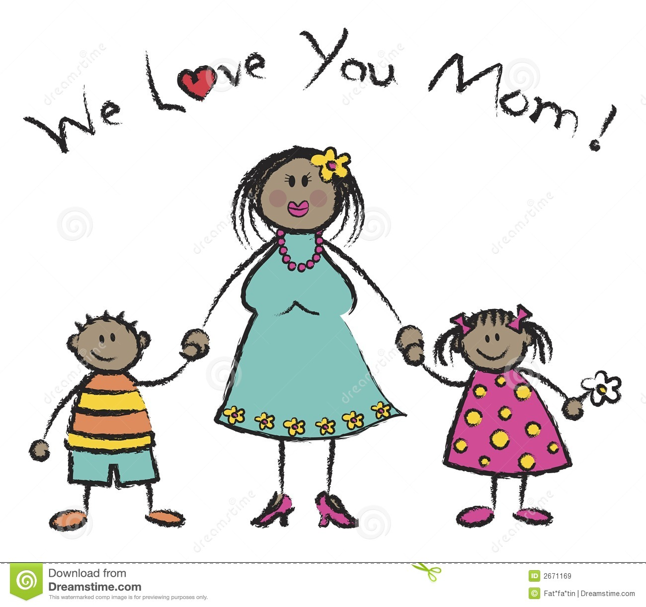 We Love You Mom   Dark Skin Royalty Free Stock Images   Image  2671169
