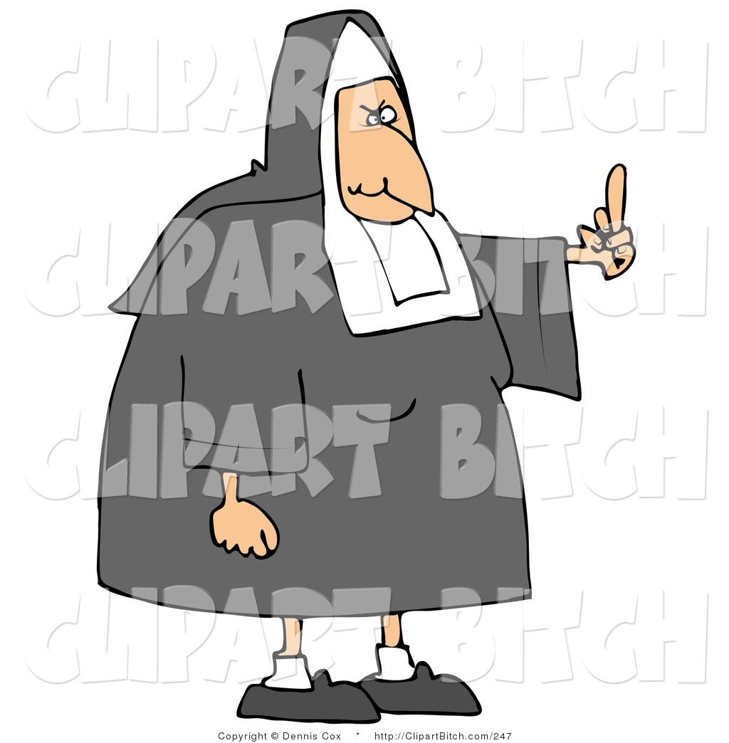 White Lady Catholic Nun In Uniform Flipping Someone Off For Making