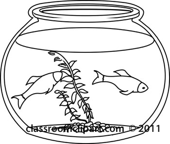 Animals   Outline Goldfish Bowl   Classroom Clipart