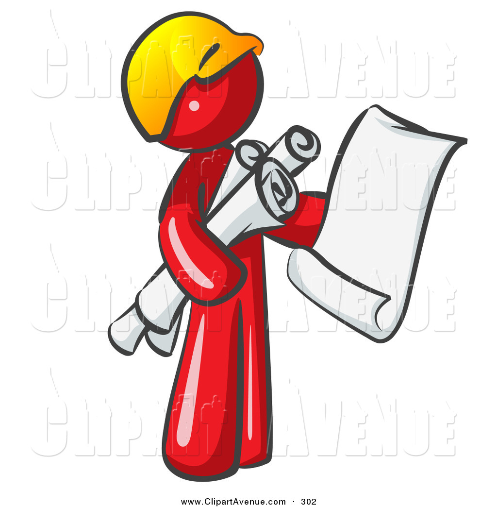 Avenue Clipart Of A Red Worker Man Contractor Or Architect Holding