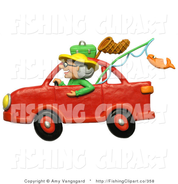 Clip Art Of A 3d Granny Driving Red Car To Go Fishing Clipart
