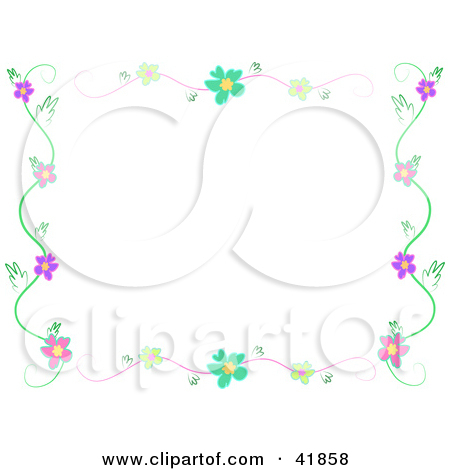 Clipart Illustration Of A Flower Stationery Border Vine By Bpearth